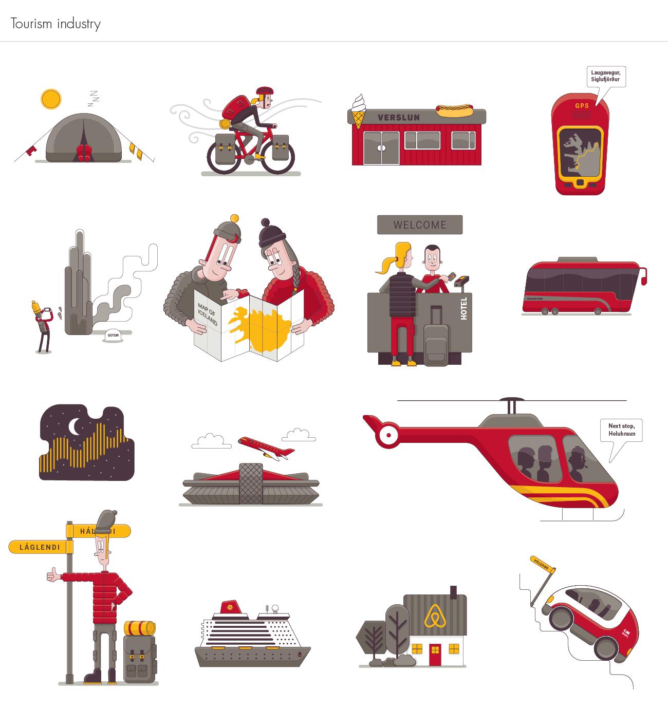 Íslandsbanki Tourism illustrations