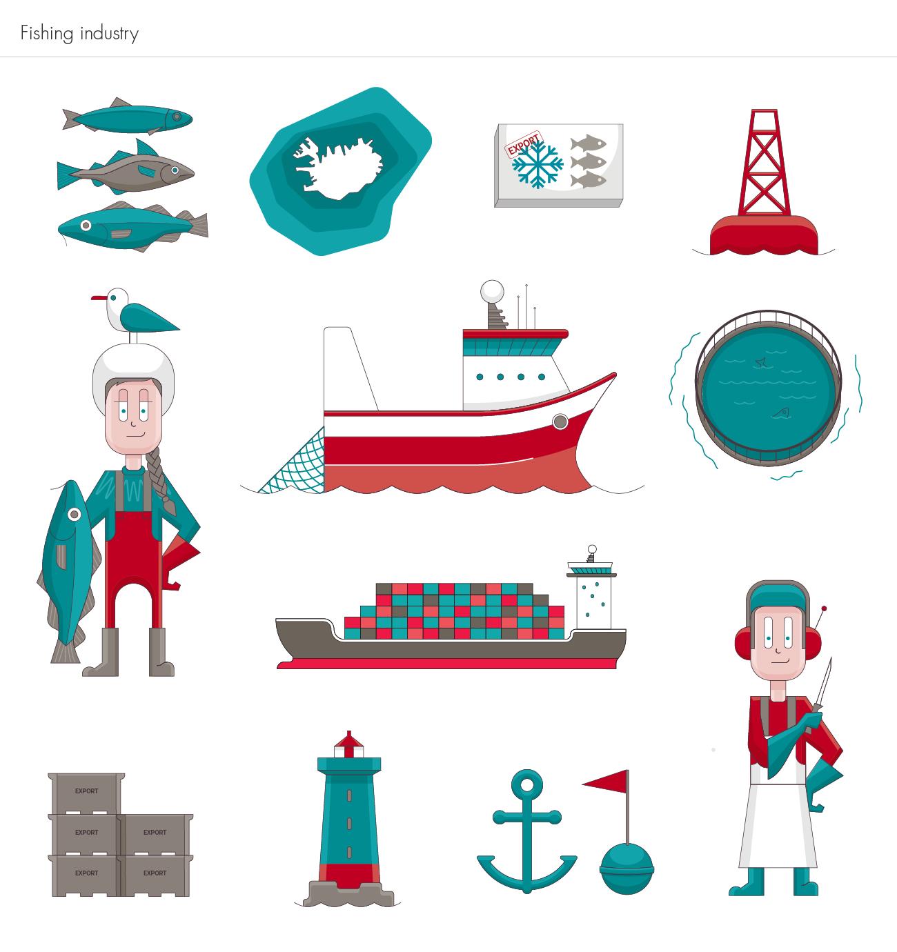 Íslandsbanki Fishing illustrations