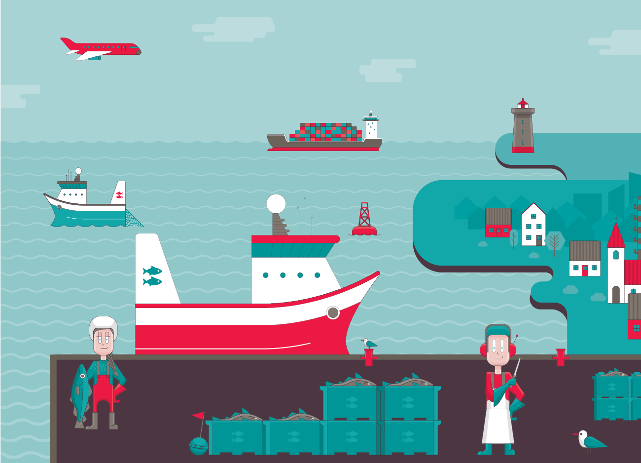 Íslandsbanki fishing industry illustration